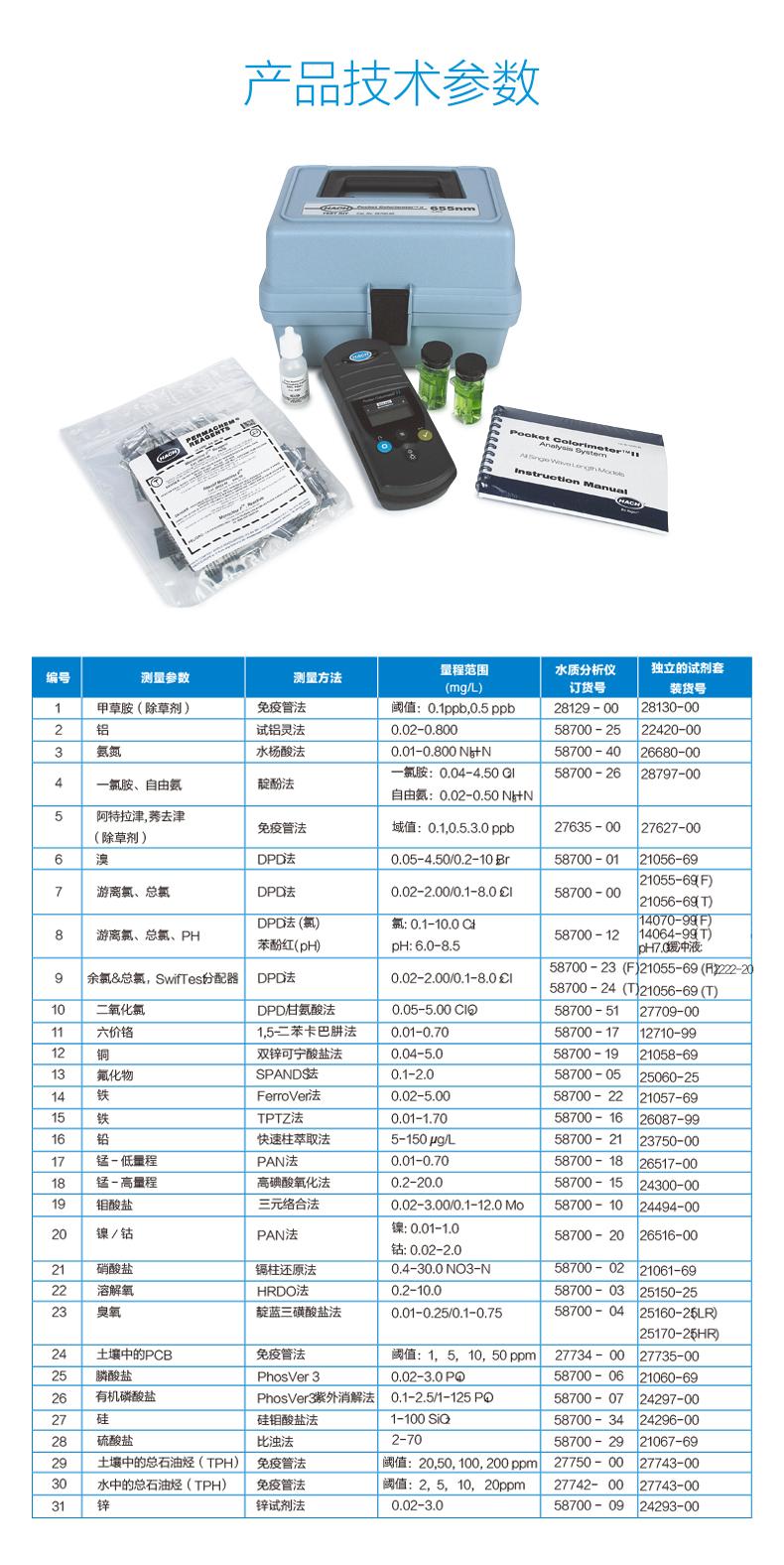 PCII便携式余氯比色计技术参数